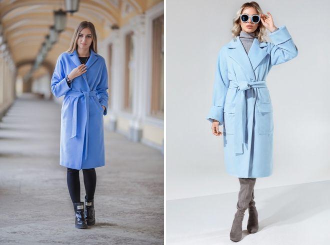 с чем носить классическое голубое пальто