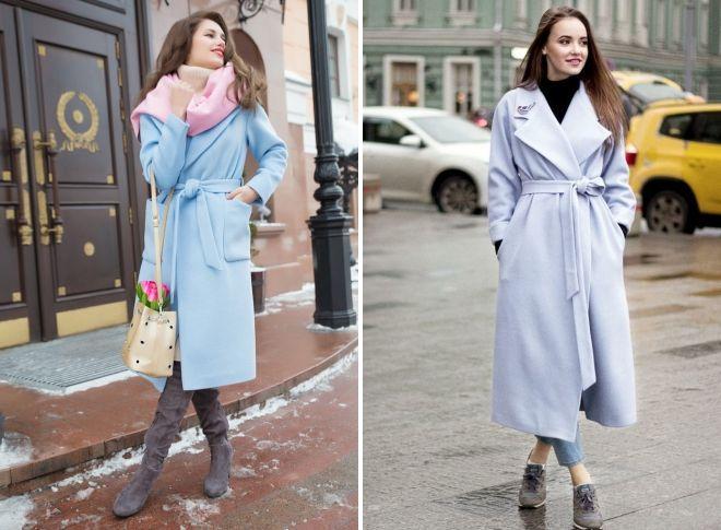 с чем носить голубое пальто халат