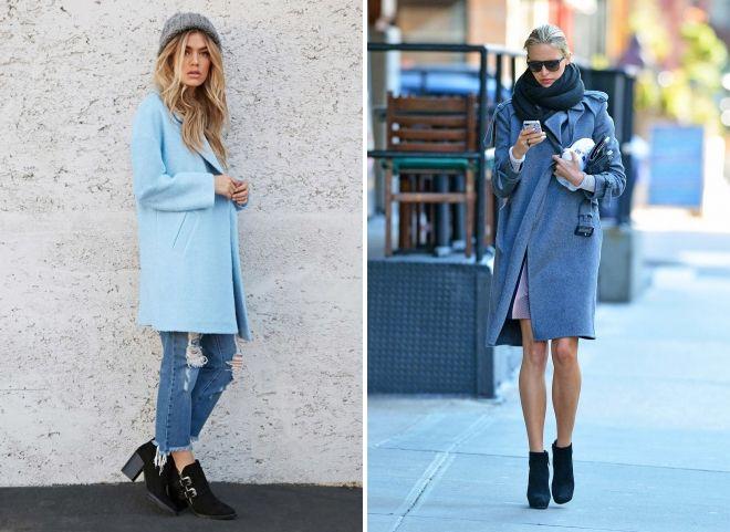 с чем носить голубое пальто оверсайз