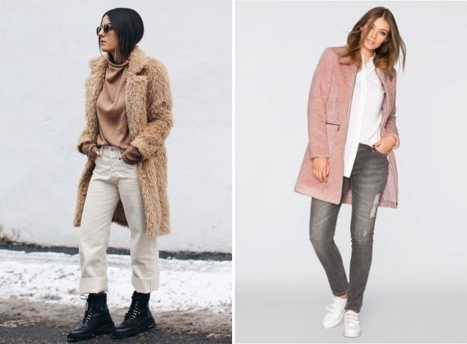 розовое плюшевое пальто