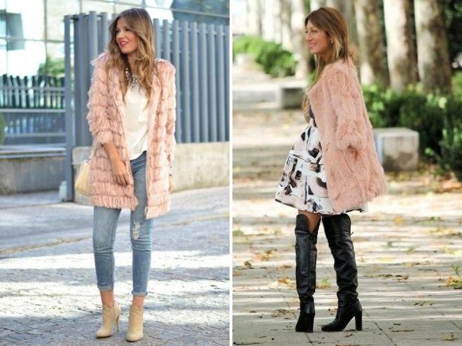 розовое меховое пальто