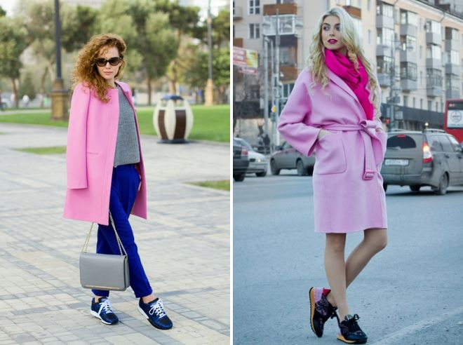 pink coat with sneakers