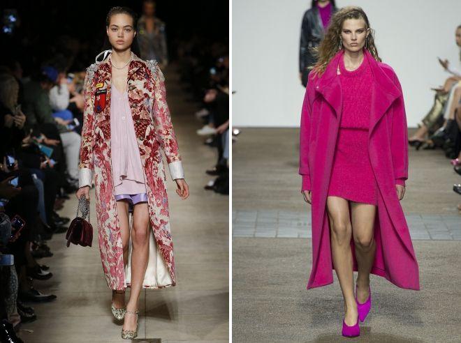 длинное розовое пальто