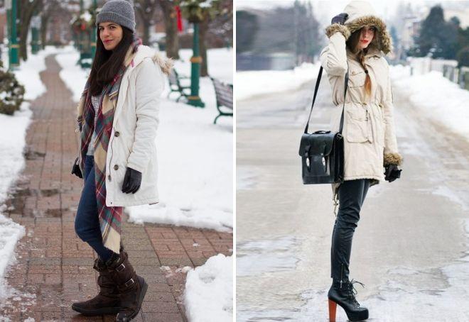 с чем носить белую парку зимой
