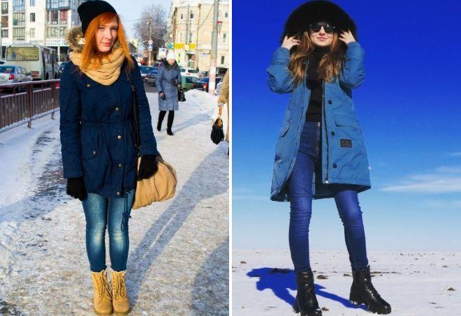 с чем носить синюю парку зимой