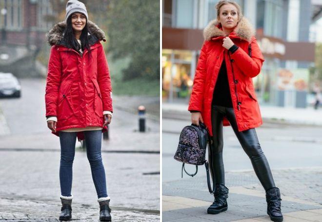 с чем носить красную парку зимой