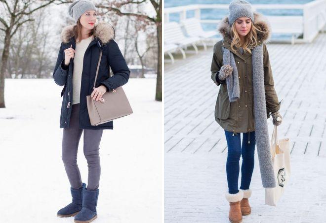 с какой обувью носить женскую парку зимой