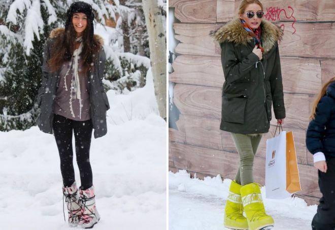 какую обувь носить с паркой зимой женщине