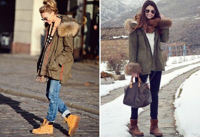 зимняя парка с ботинками