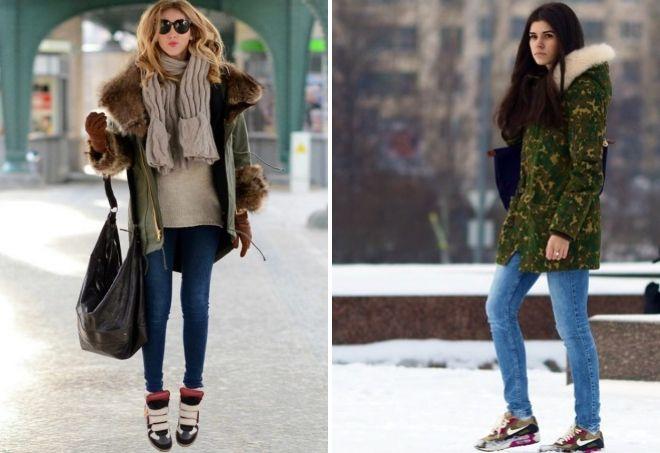 зимняя парка с кроссовками