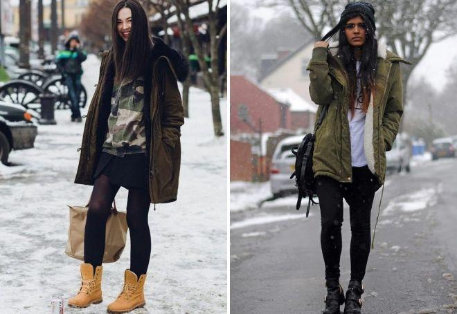 с чем носить женскую парку зимой