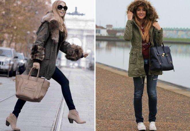 что носить с паркой зимой
