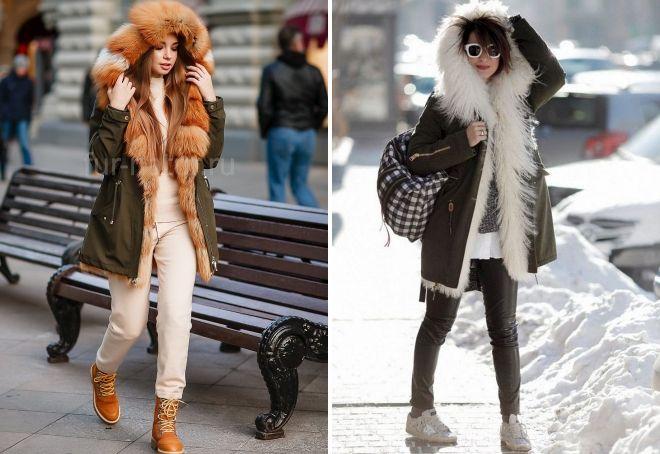 с чем носить парку с мехом зимой