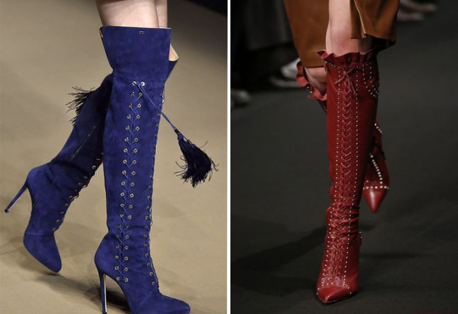 Модные женские высокие сапоги на шнуровке – на каблуке и без ... ea8e443248069