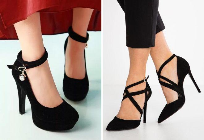 черные туфли на каблуке с ремешком