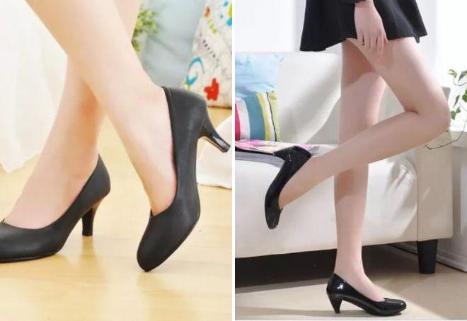 черные туфли лодочки на небольшом каблуке