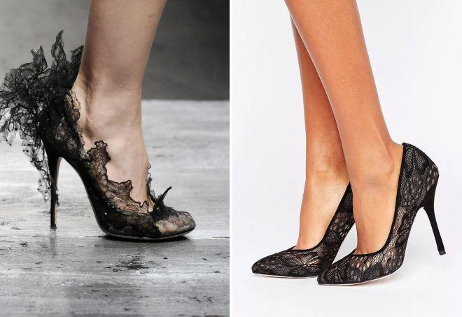 вечерние черные туфли на каблуке