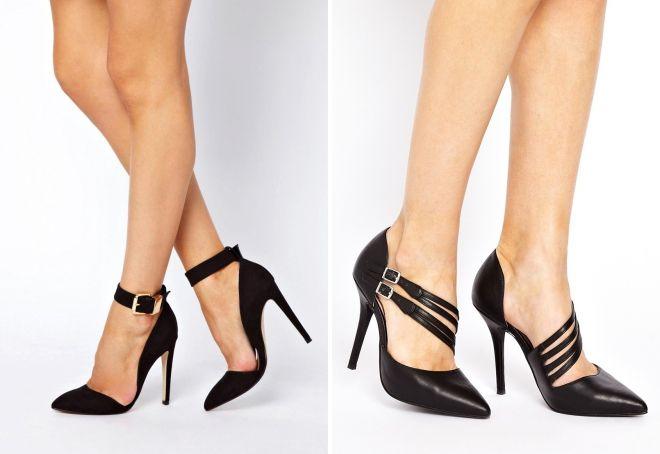 модные черные туфли на каблуке