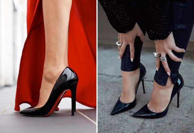 черные туфли лодочки каблуке