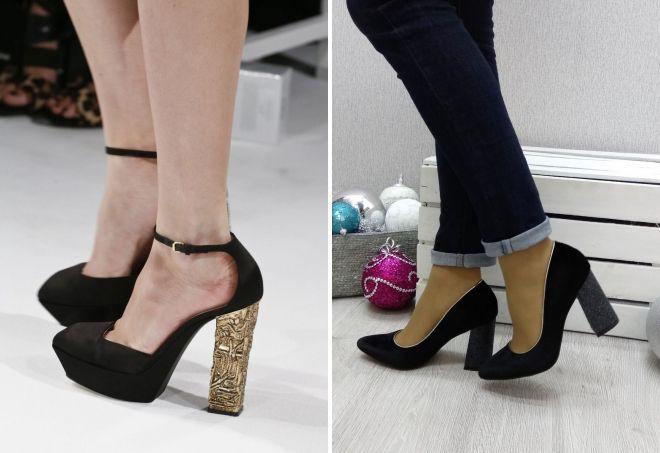 черные туфли на высоком толстом каблуке