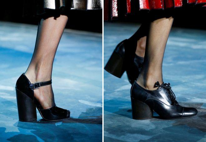 черные туфли на толстом каблуке