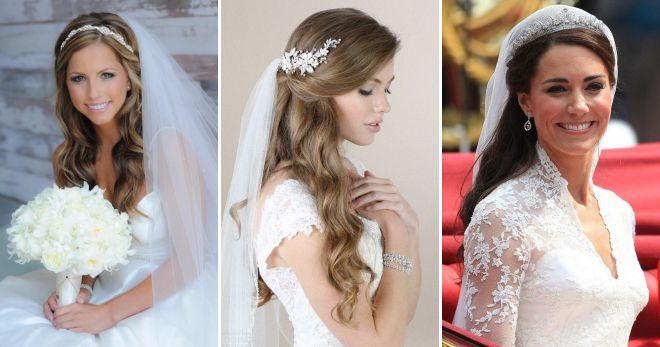Красивые свадебные прически с фатой – на длинные, средние и короткие волосы, с диадемой и короной, с цветами и венком