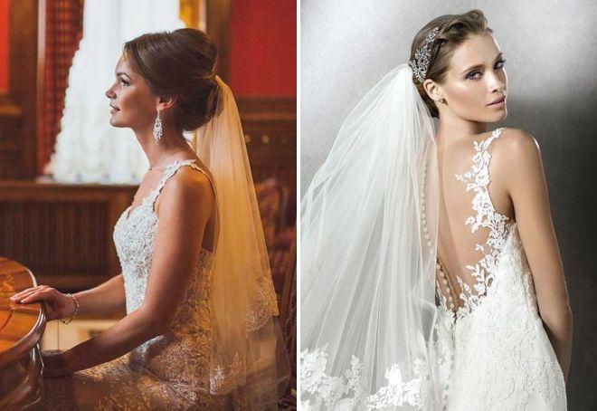 Красивый высокий и низкий свадебный пучок – объемный и гладкий, с челкой и без, с фатой