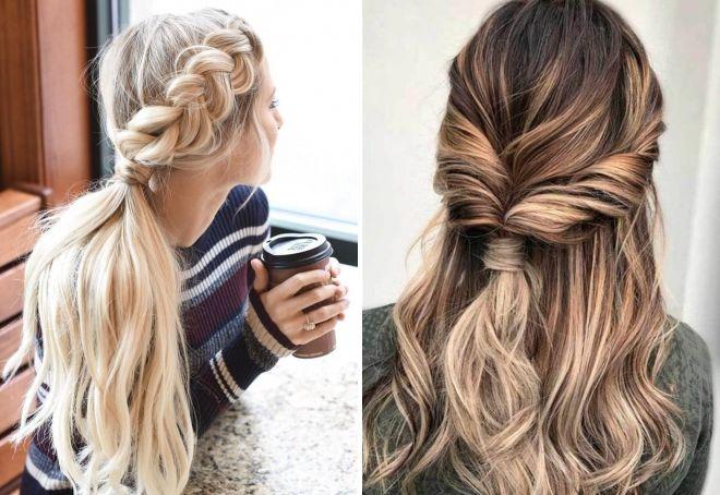 Легкие прически на длинные волосы – косы, пучки, хвосты ...