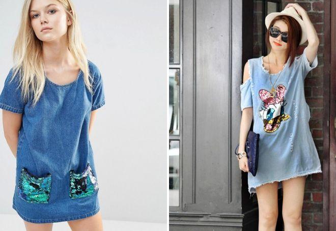 джинсовое платье с пайетками