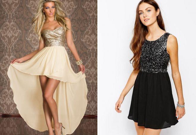 вечерние платья с пайетками