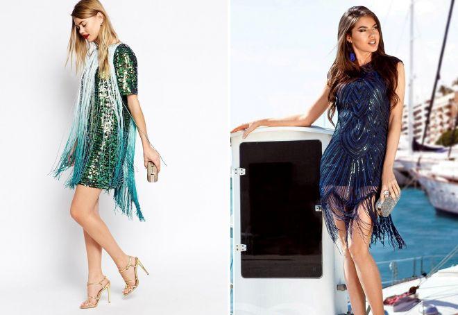 платье с бахромой и пайетками