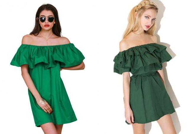 Модное платье с воланом – на плечах и по низу, прямое и трапеция ... 338b287be54