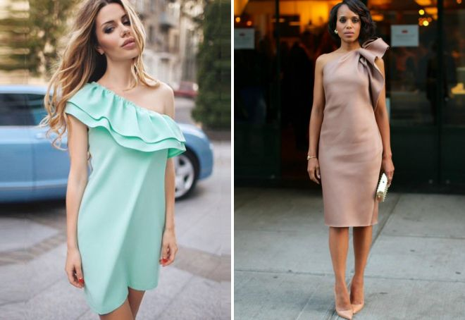 Модное платье с воланом – на плечах и по низу, прямое и трапеция ... 9a7e06cd295