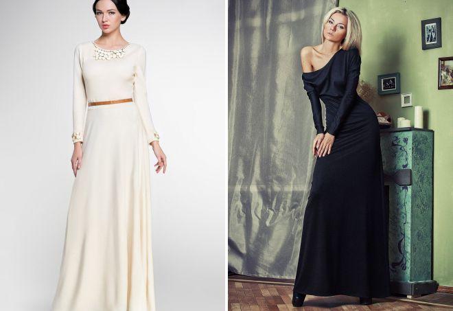 трикотажное длинное платье с рукавами