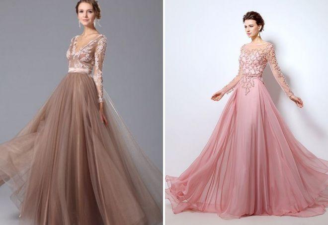пышное длинное платье с рукавами