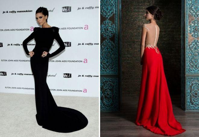 модное платье в пол с длинным рукавом