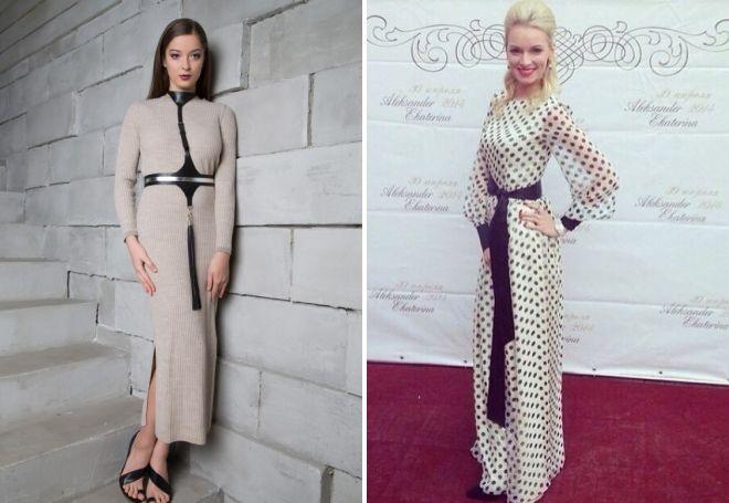 модные длинные платья с рукавами 2017