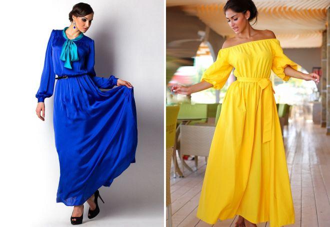 стильное платье в пол с длинным рукавом