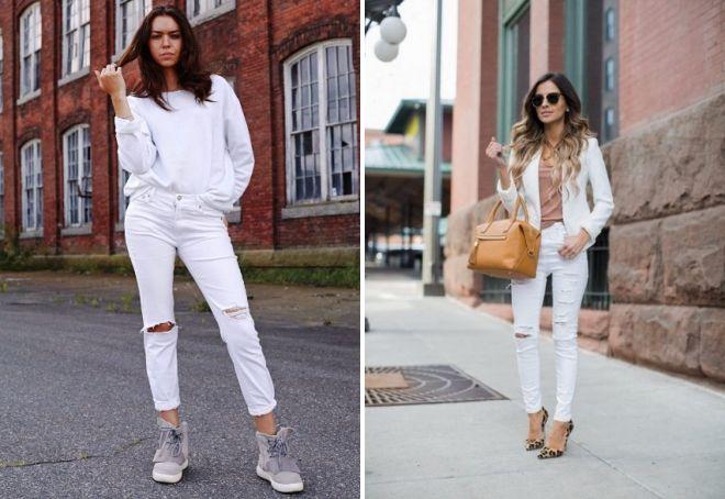 с чем носить белые рваные джинсы