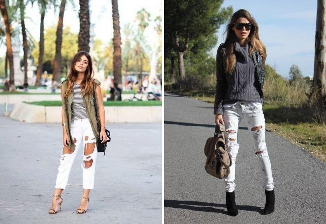 белые женские рваные джинсы