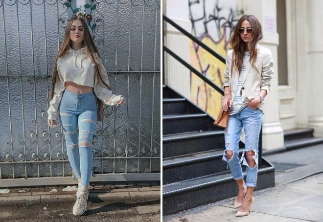 с чем носить рваные джинсы голубого цвета