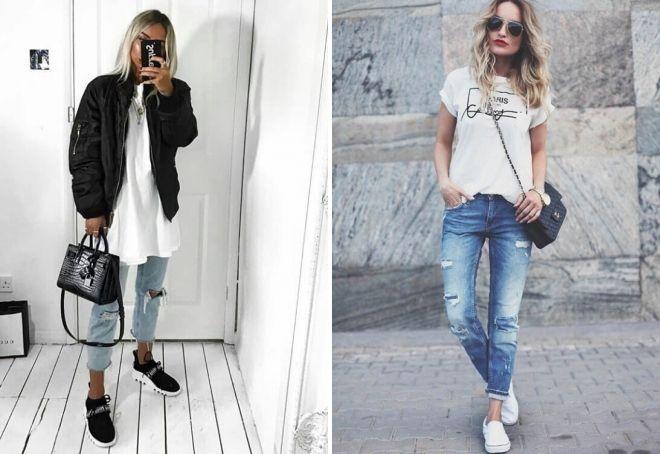 с чем носить женские рваные джинсы