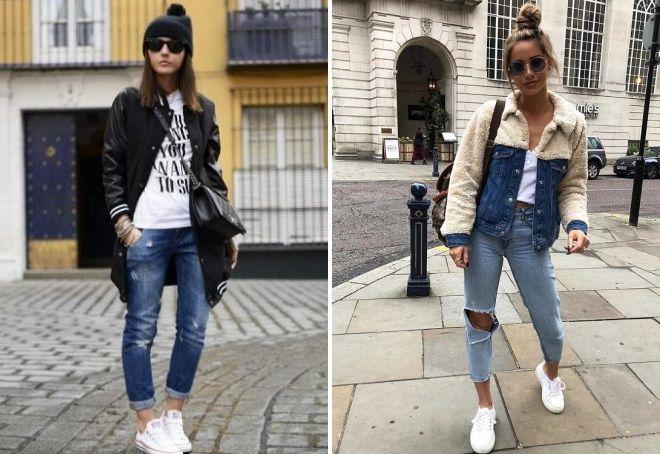 с чем носить укороченные рваные джинсы