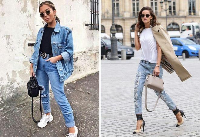 с чем носить рваные джинсы осенью