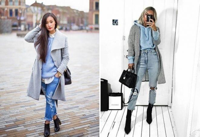 с чем носить рваные джинсы зимой