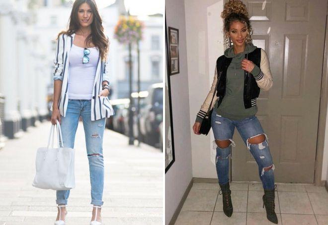 с чем можно носить рваные джинсы