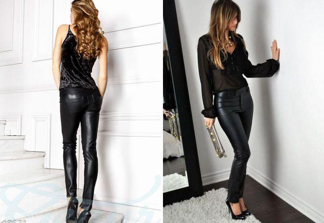 кожаные брюки с молнией на попе