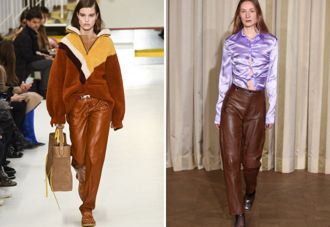 широкие кожаные брюки