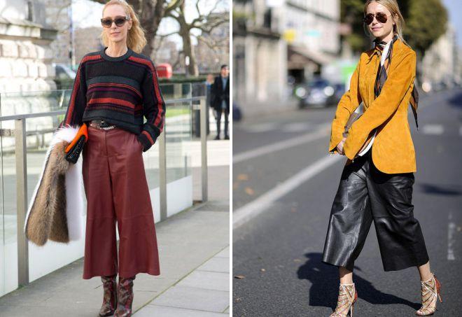 кожаные юбки брюки