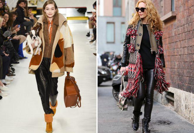 с чем носить кожаные брюки зимой